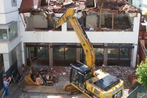 Commercial Demolition with big crane
